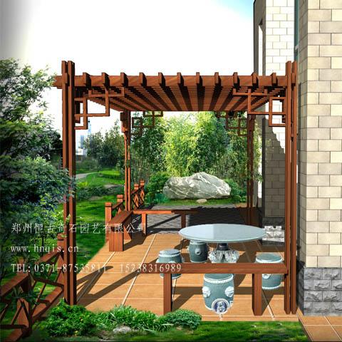 产品名称:郑州防腐木花架设计