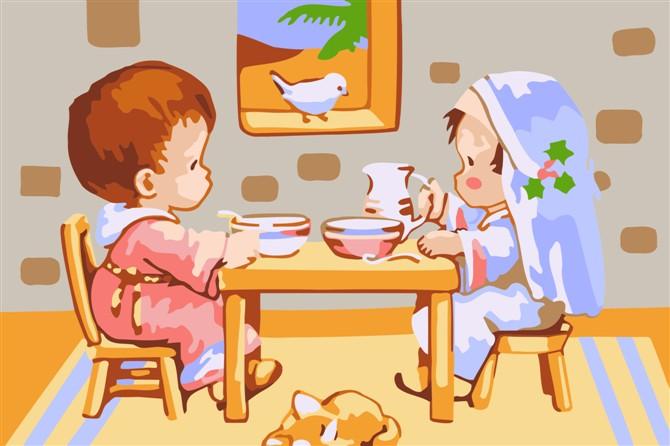 幼儿园晚餐图片卡通