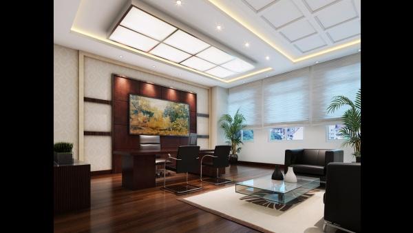 郑州办公楼总经理办公室设计装修